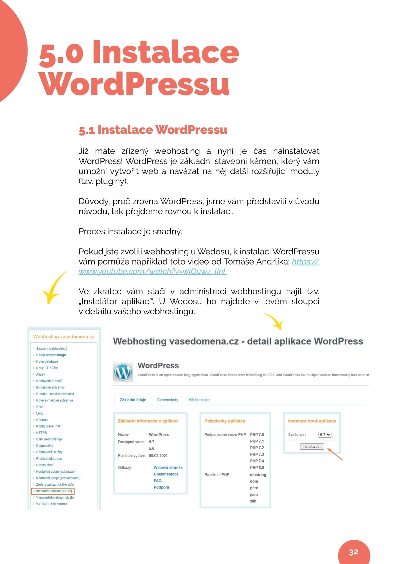 Instalace WordPressu ukázka kapitoly 5